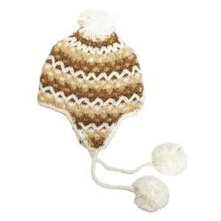 Шапка плетена 1126 white brown