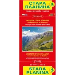 Туристическа карта на Западна Стара планина от Берковица до Златица
